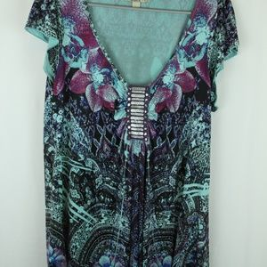 ONE WORLD Blouse w/ Gorgeous Sequin Embellished
